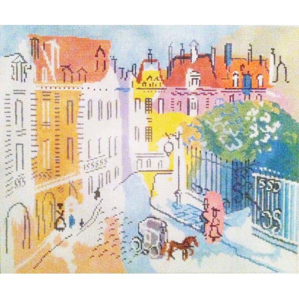 Paris Street Scene Needlepoint Design painted canvas