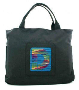 Sally Corey Modern Monogram canvas with nylon computer bag