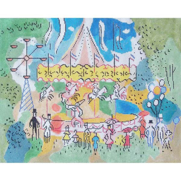 Sally Corey Paris Carousel needlepoint canvas