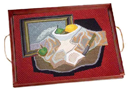 Sally Corey Still Life with Fruit needlepoint canvas in Tray