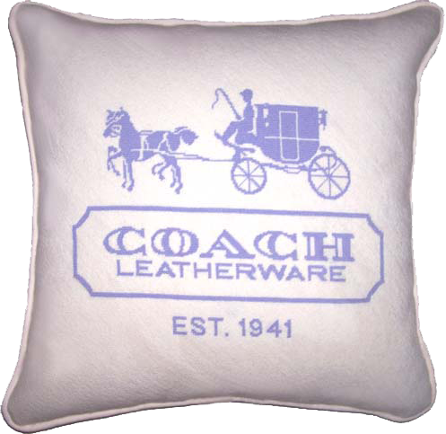 Coach needlepoint cushion by Sally Corey
