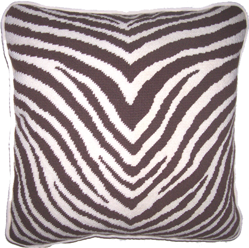 Image of Coac hZebra Needlepoint Pillow