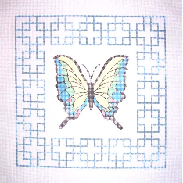 Butterfly lattice needlepoint canvas hand painted by Sally Corey