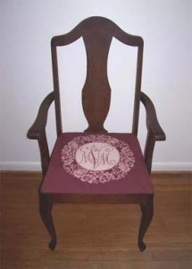 Rose of Sharon monogram chair