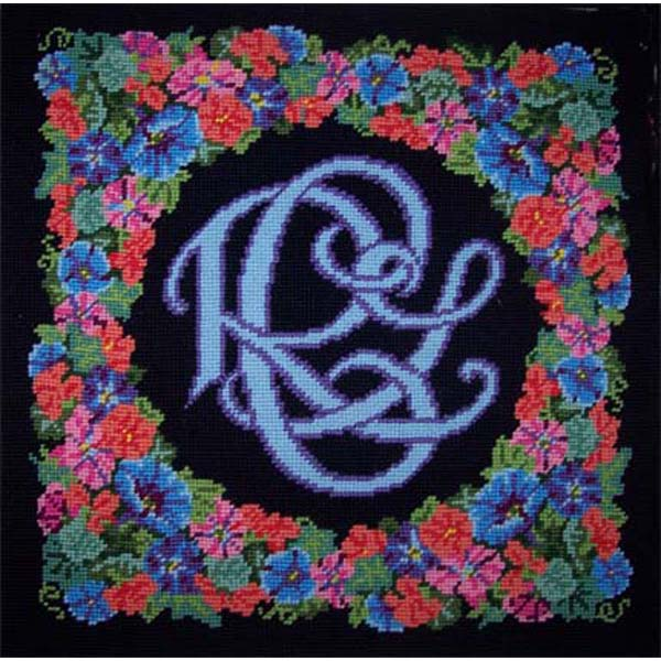rose monogram needlepoint by sally corey