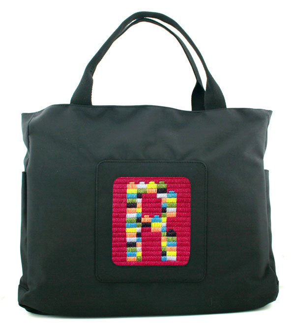 hand painted canvas of Rogo monogram.computer.bag