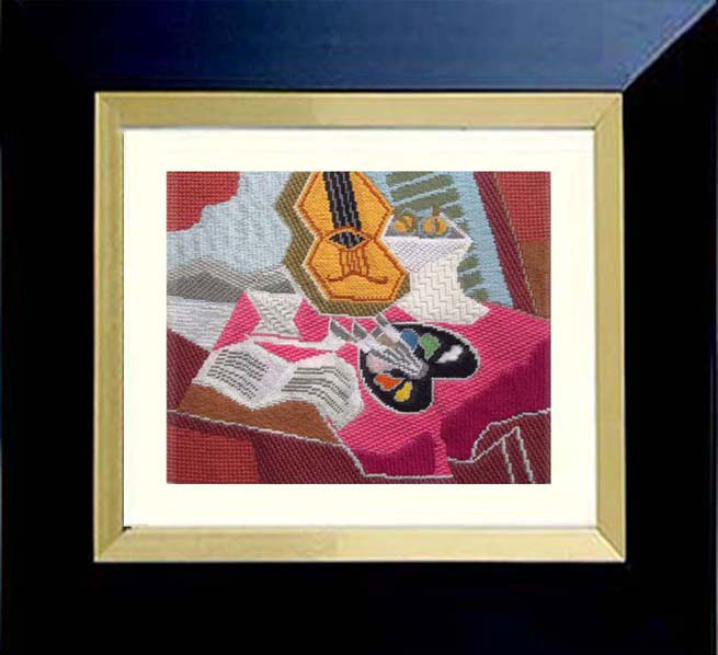 Sally Corey hand stitch painted needlepoint canvas Still Life with Palette Framed, inspired by cubist master Juan Gris