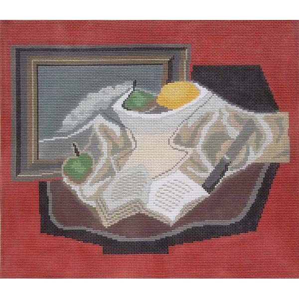 Sally Corey hand stitch painted needlepoint canvas Still Life with Fruit