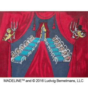 Madeline - Good Night Little Girls hand stitch painted needlepoint canvas by Sally Corey
